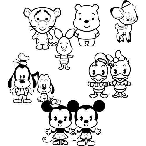 500x500 Cute Coloring Pages Disney Cuties Printable On Disney Coloring