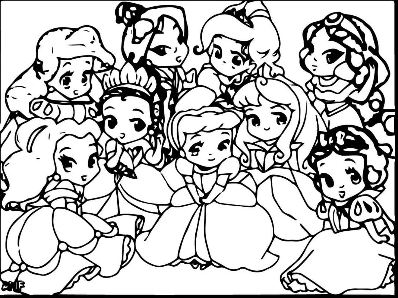 1375x1028 Excellent Baby Disney Princess Coloring Pages With Cute In Of Dak