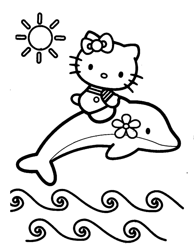 800x1011 Inspiring Idea Dolphin Coloring Pages And Hello Kitty Coloringstar