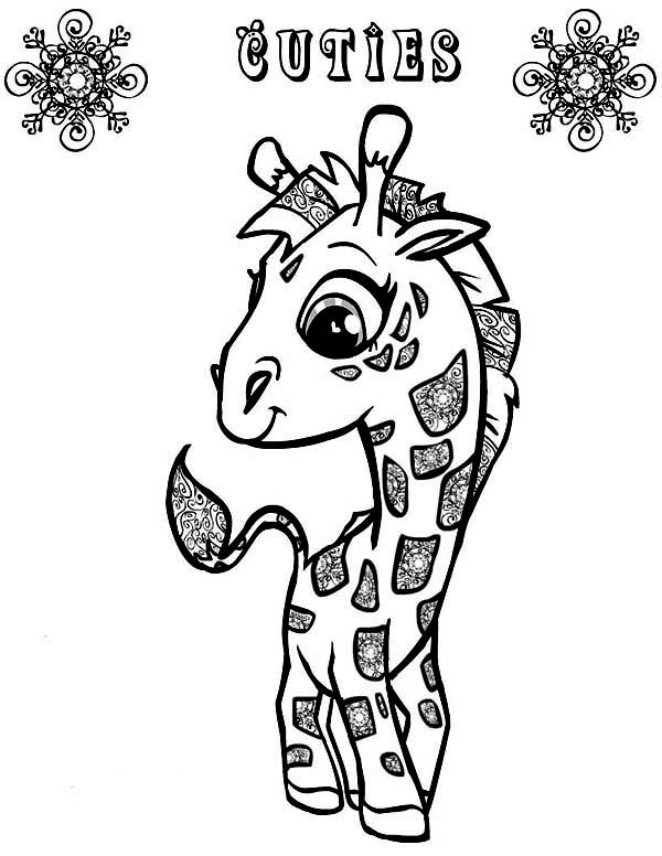 600x776 Cute Little Giraffe Coloring Page