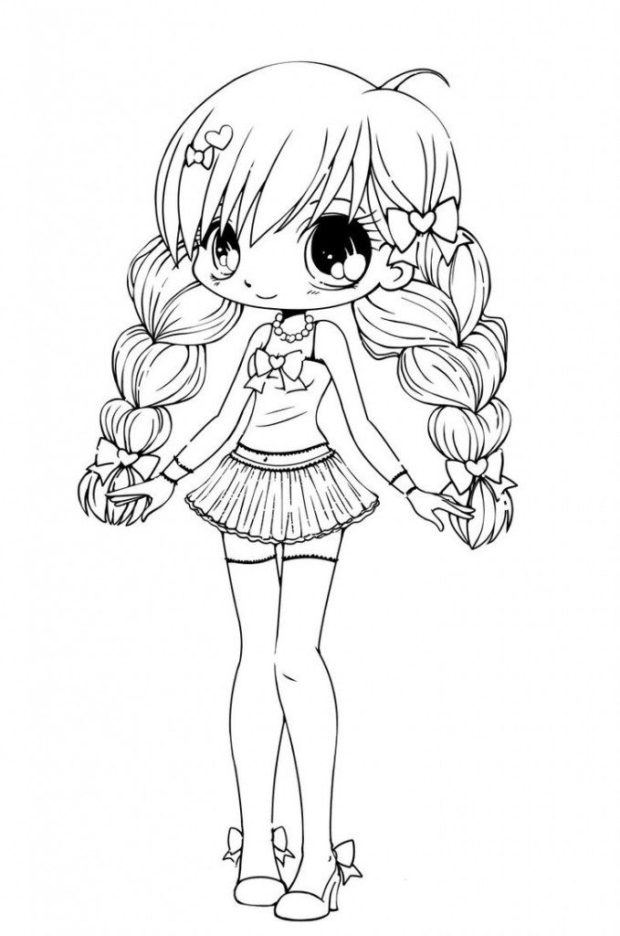 679x1024 Cute Coloring Pages For Girls Clipart Cute Anime Girl Coloring