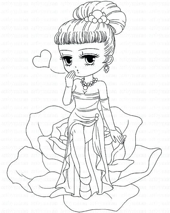 570x713 Cute Girl Coloring Pages Valentine Tal Stamp Cute Girl Coloring