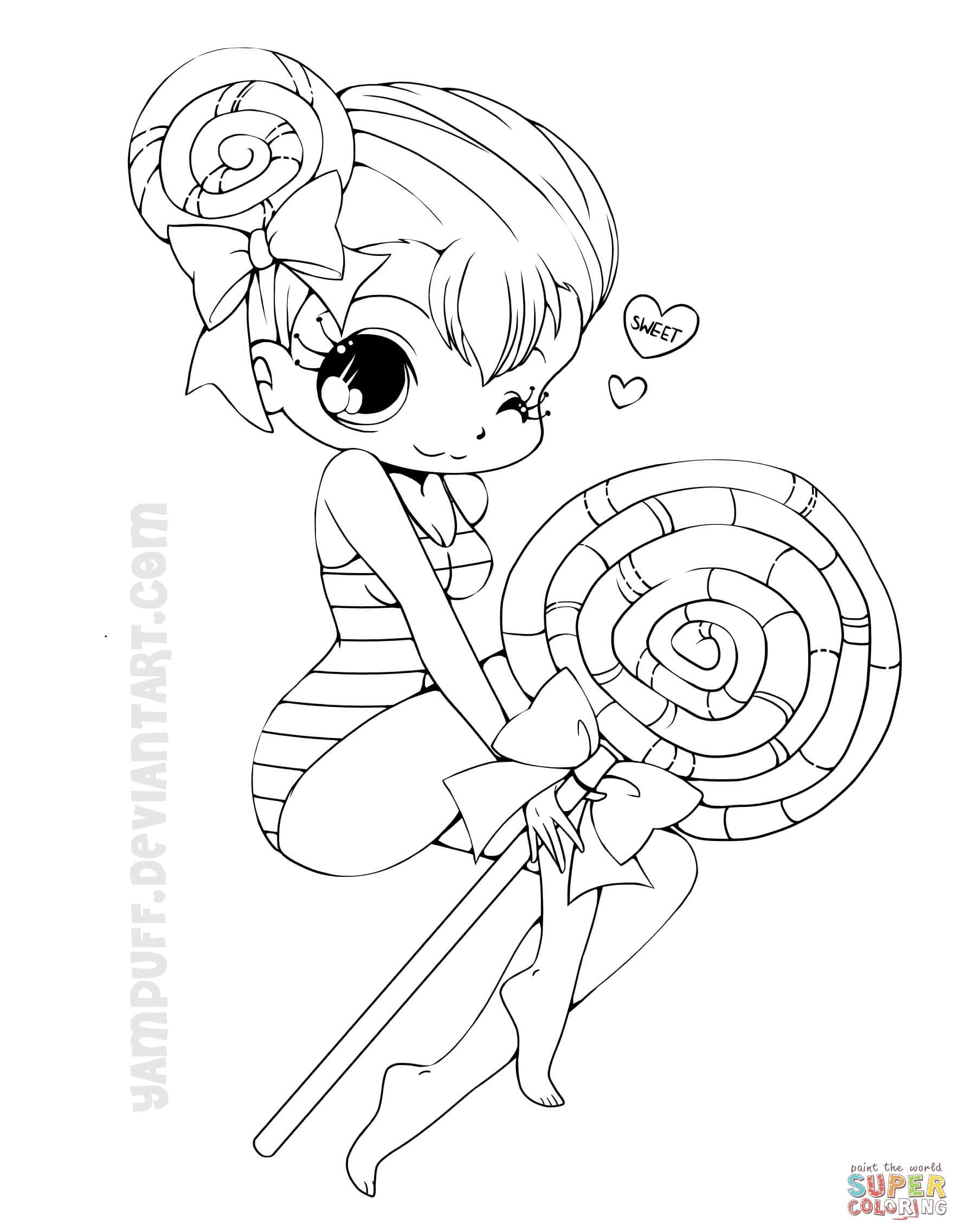 1771x2272 Chibi Lollipop Girl Coloring Page Free Printable Pages Within Cute