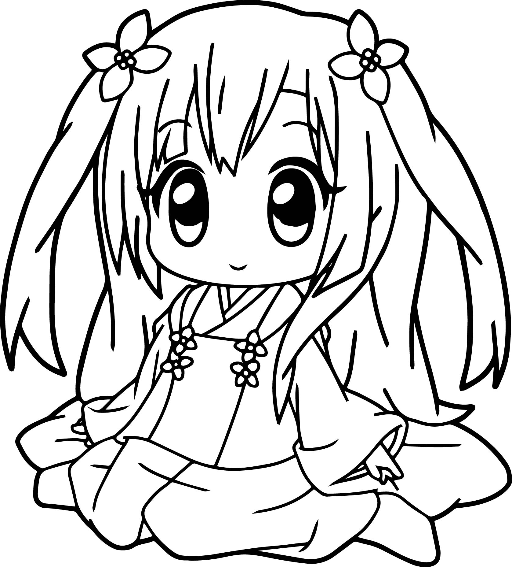 1677x1854 Very Cute Anime Girl Coloring Page Pages