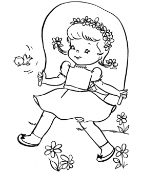 277x338 Print Out Spring Cute Girl Jumping Rope Coloring Page