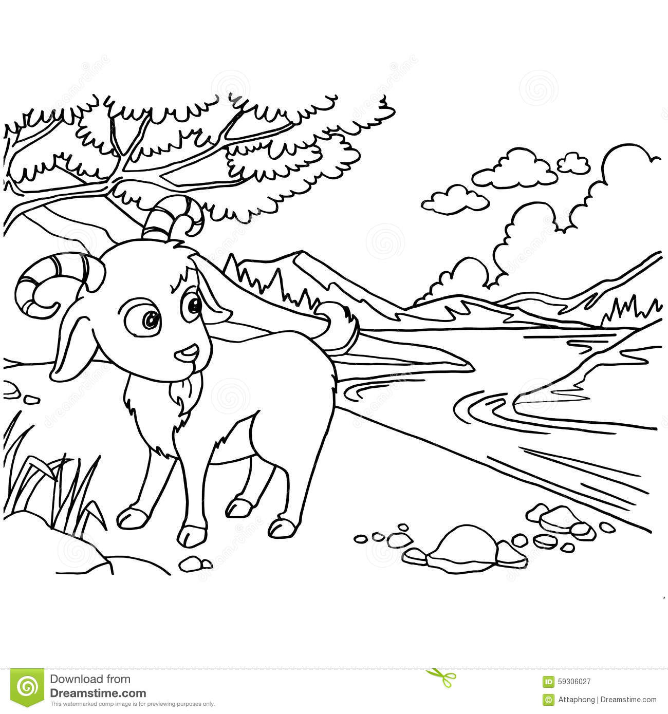 1300x1390 Goat Coloring Pages Vector Stock Illustration Of New