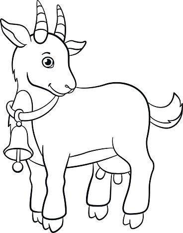 368x468 Coloring Farm Little Cute Goat Premium Clipart