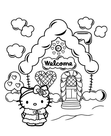 Cute Hello Kitty Coloring Pages