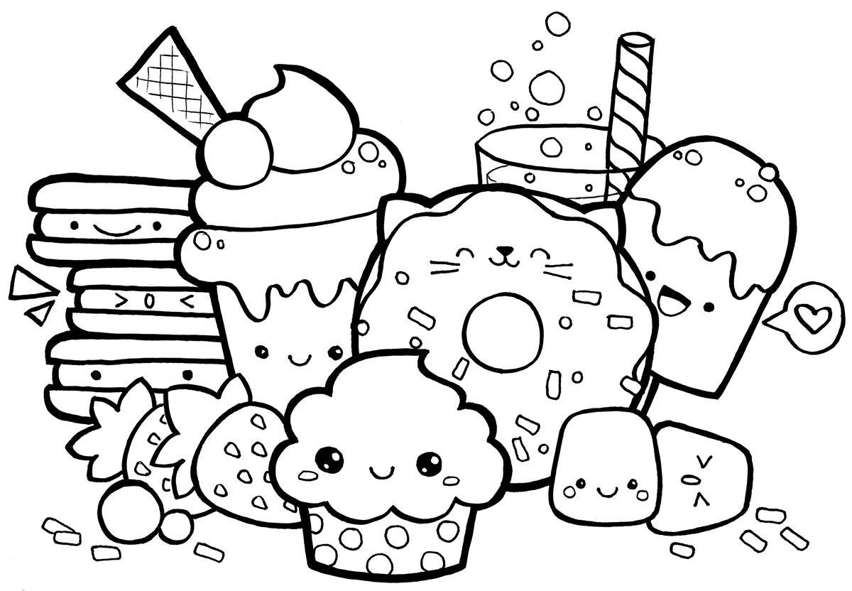 1200x832 Kawaii Food Doodle Coloring Page