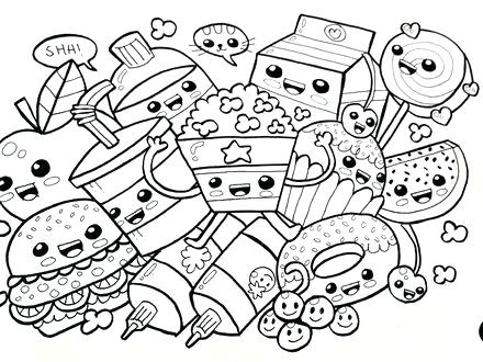 440x330 Printable Cute Food Coloring Pages Free Cupcake Foods S
