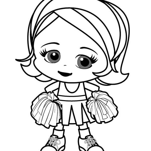 600x600 Cute Girl Coloring Pictures Cute Little Girl Cheerleader Coloring