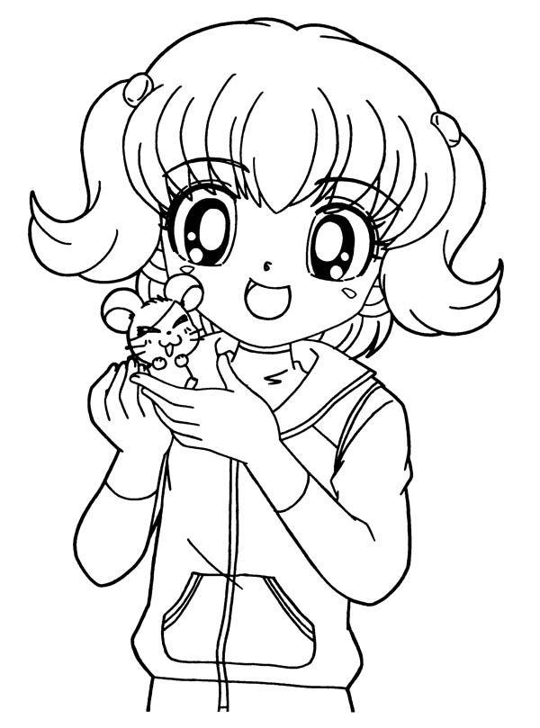 600x809 Anime Girl, Anime Girl And Little Hamtaro Coloring Page