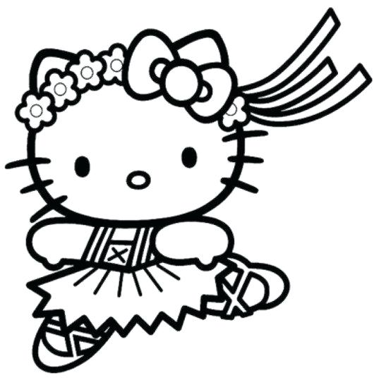 530x539 Cute Mermaid Coloring Pages Hello Kitty Cute Ballerina Coloring