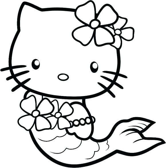 580x588 Cute Mermaid Coloring Pages Hello Kitty For Kids Baby Coloring