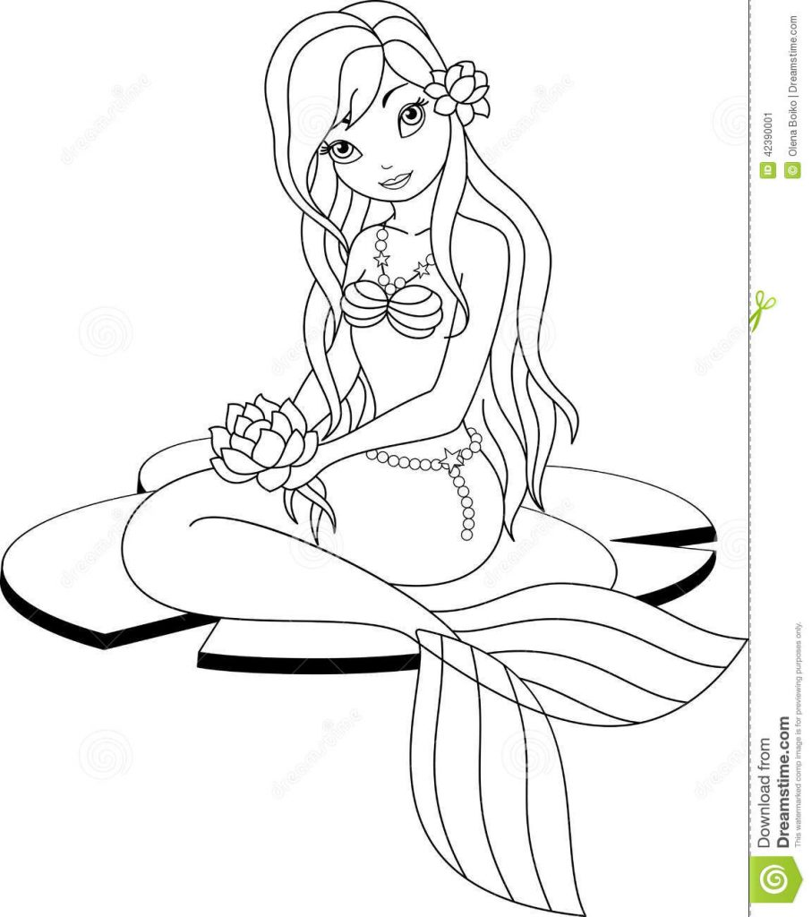 907x1024 Mermaid Coloring Page
