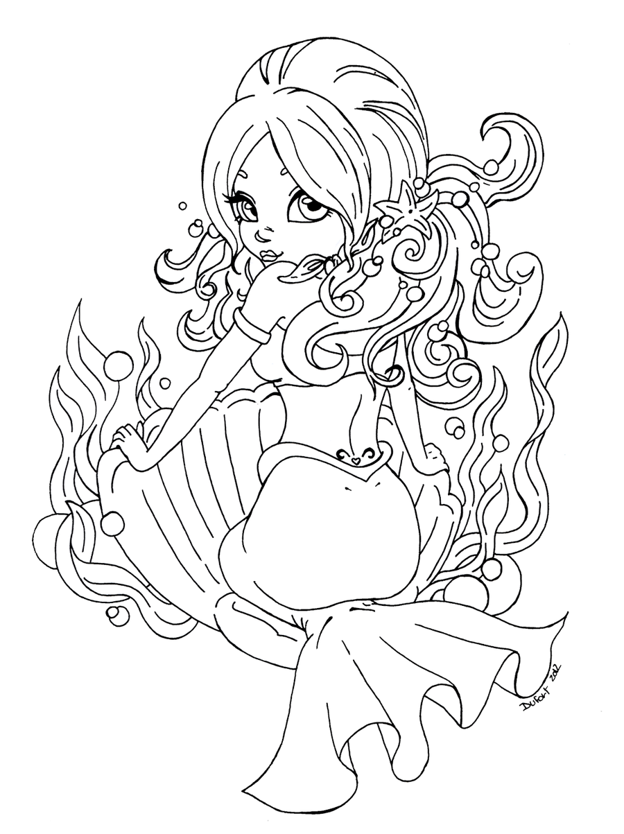 900x1203 Cute Mermaid Coloring Pages