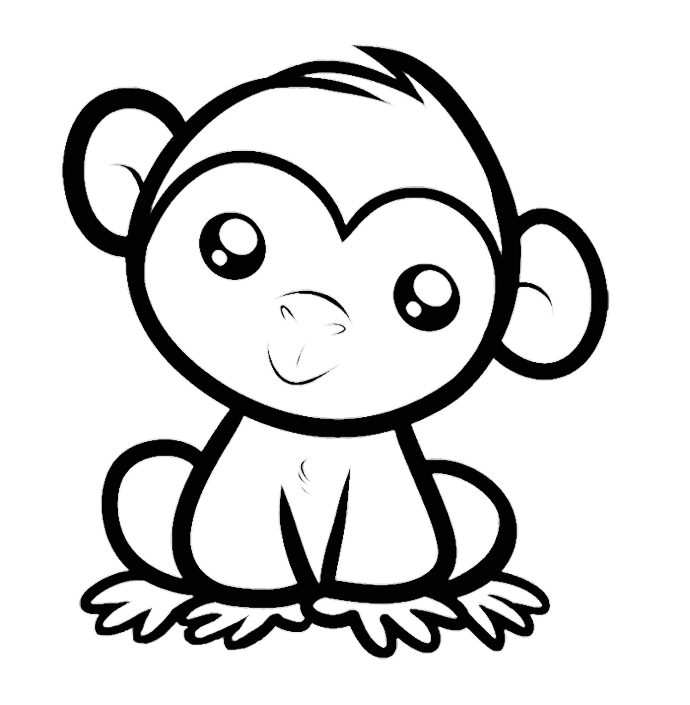 690x705 Cute Monkeys Coloring Pages
