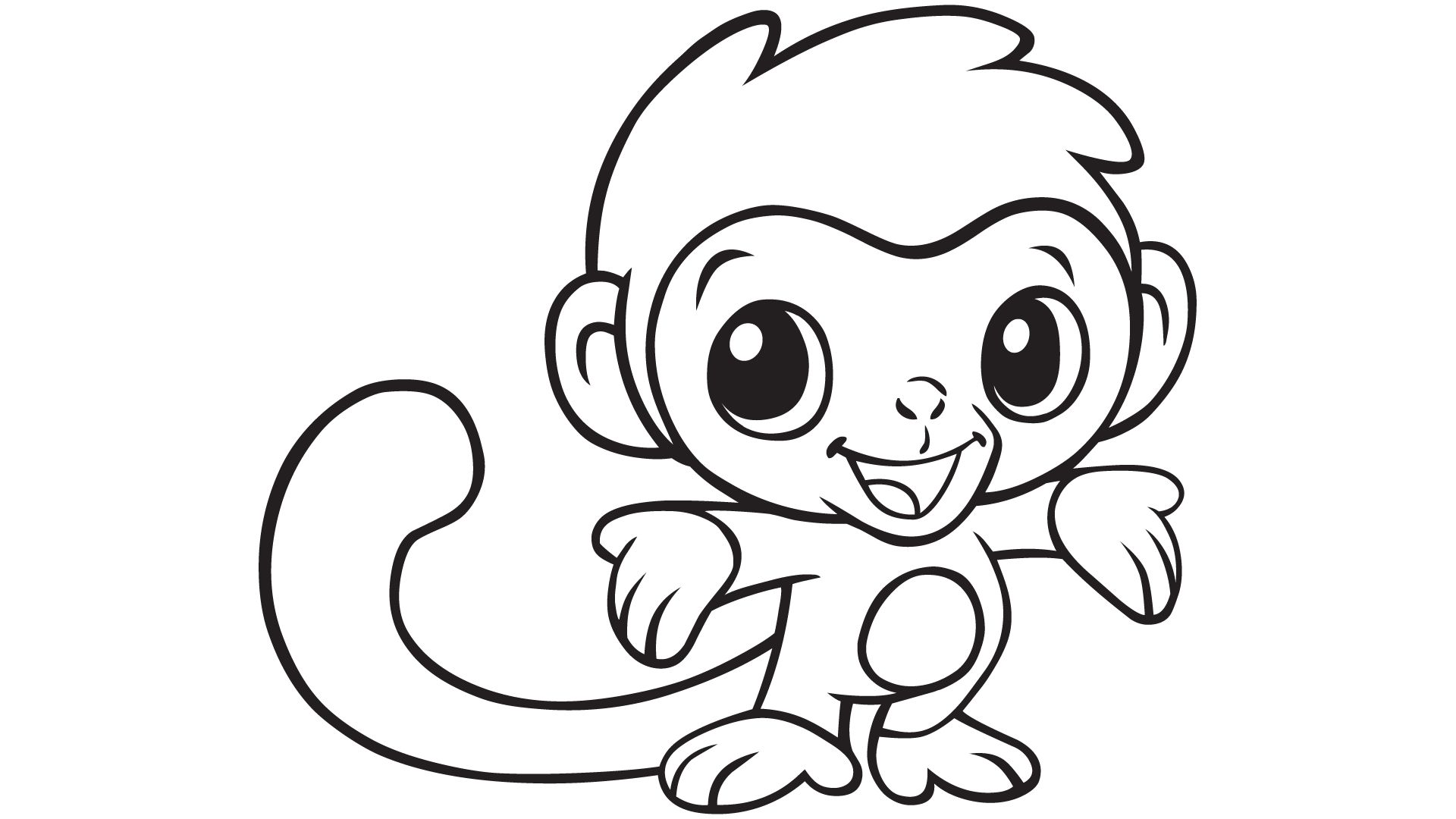 1920x1080 Baby Monkey Coloring Pages Printable