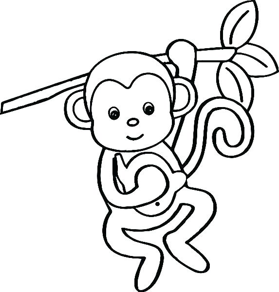 573x600 Monkey Coloring Pages Printable Cute Monkey Coloring Pages Monkey