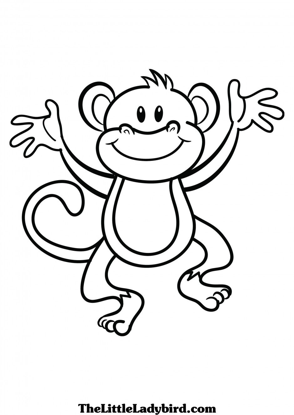 940x1329 Cute Monkey Clip Art Black And White Monkey Coloring Pages Monkey