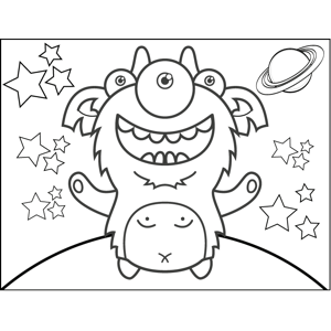 300x300 Cute Monster Coloring Page