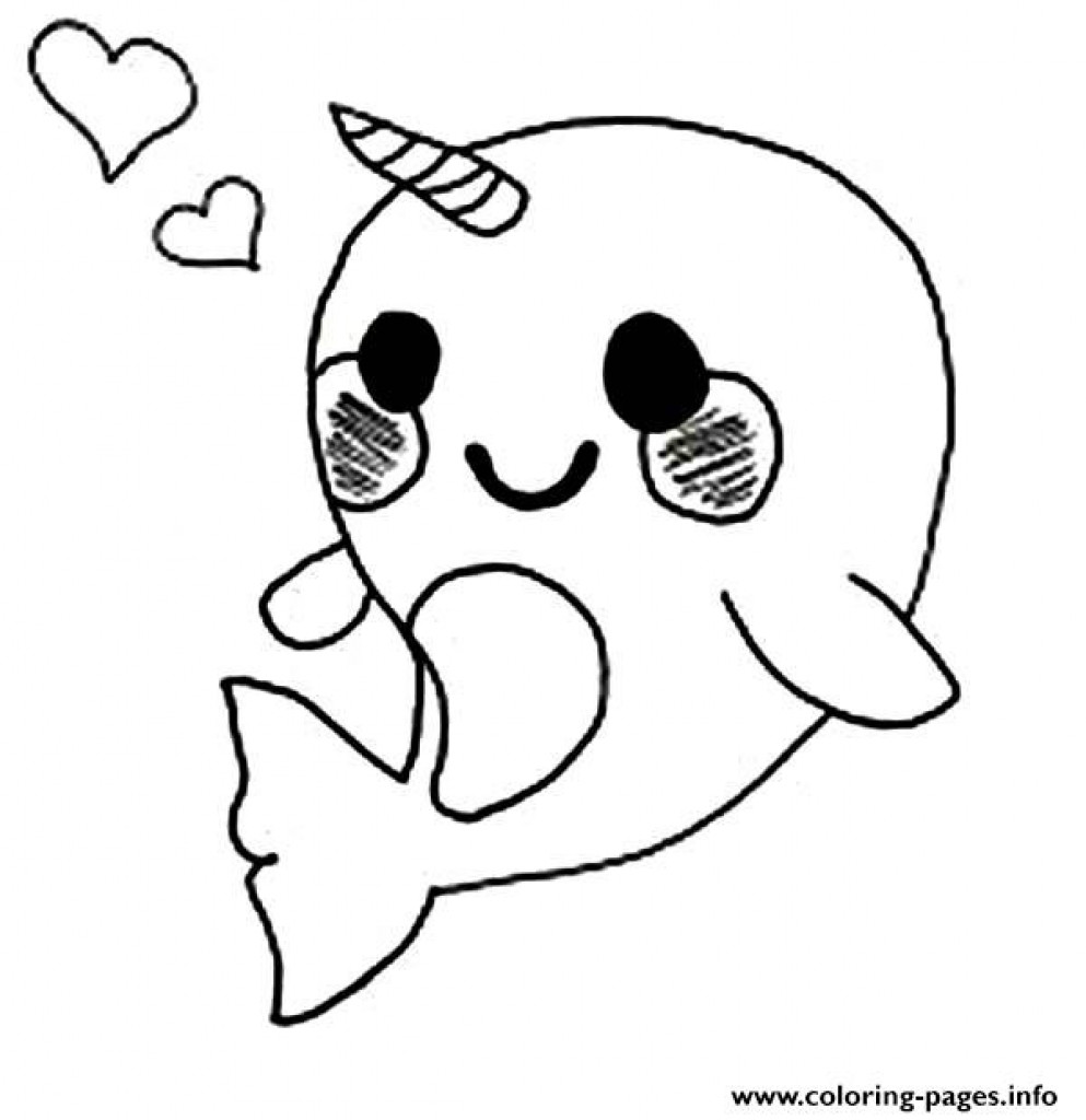 993x1024 Cute Baby Narwhal Coloring Page Pages Printable In Exceptional Acpra