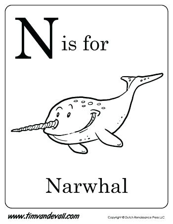 350x453 Narwhal Coloring Page Narwhal Color N Is For Narwhal Letter N