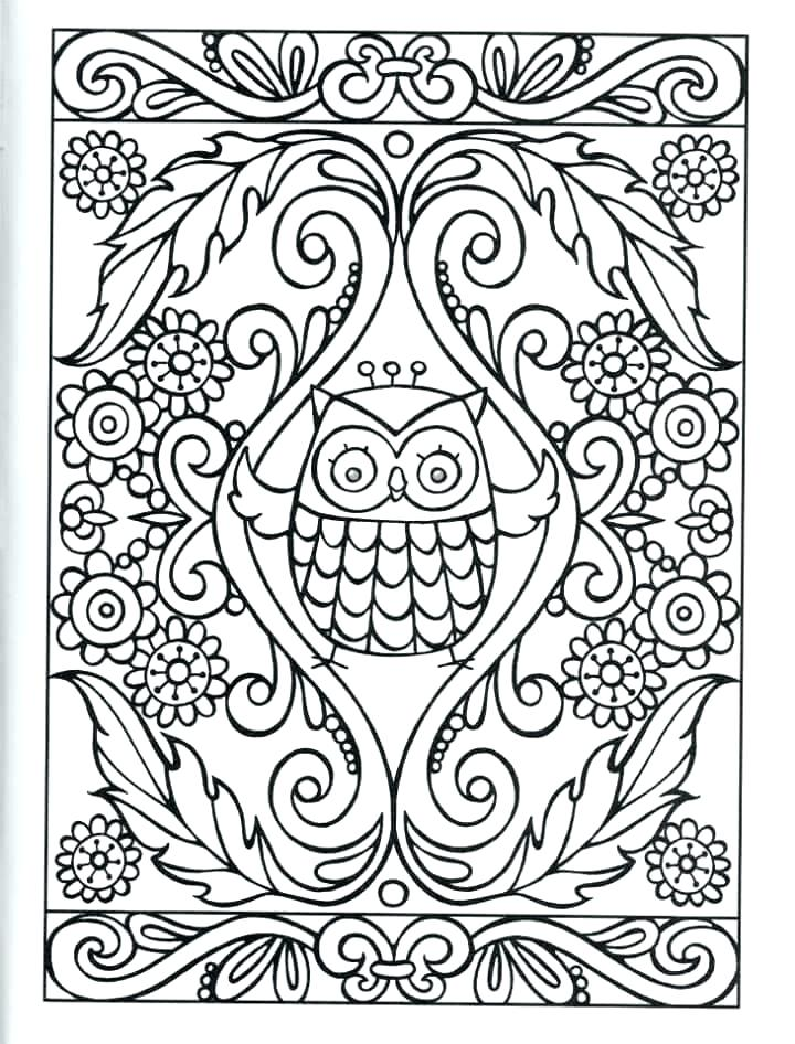 720x946 Cute Owl Coloring Pages Coloring Owls Pretty Floral With Cute Owl