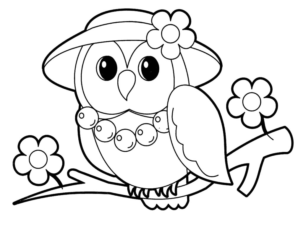 1008x768 Owl Coloring Pages For Kids Cute Owl Coloring Pages For Girls Free