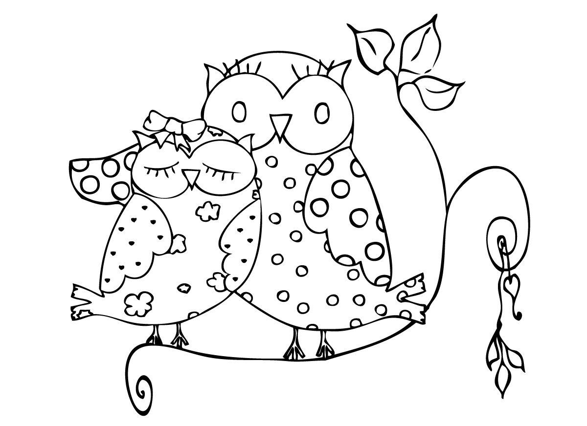 1200x872 Owl Valentines Coloring Pages