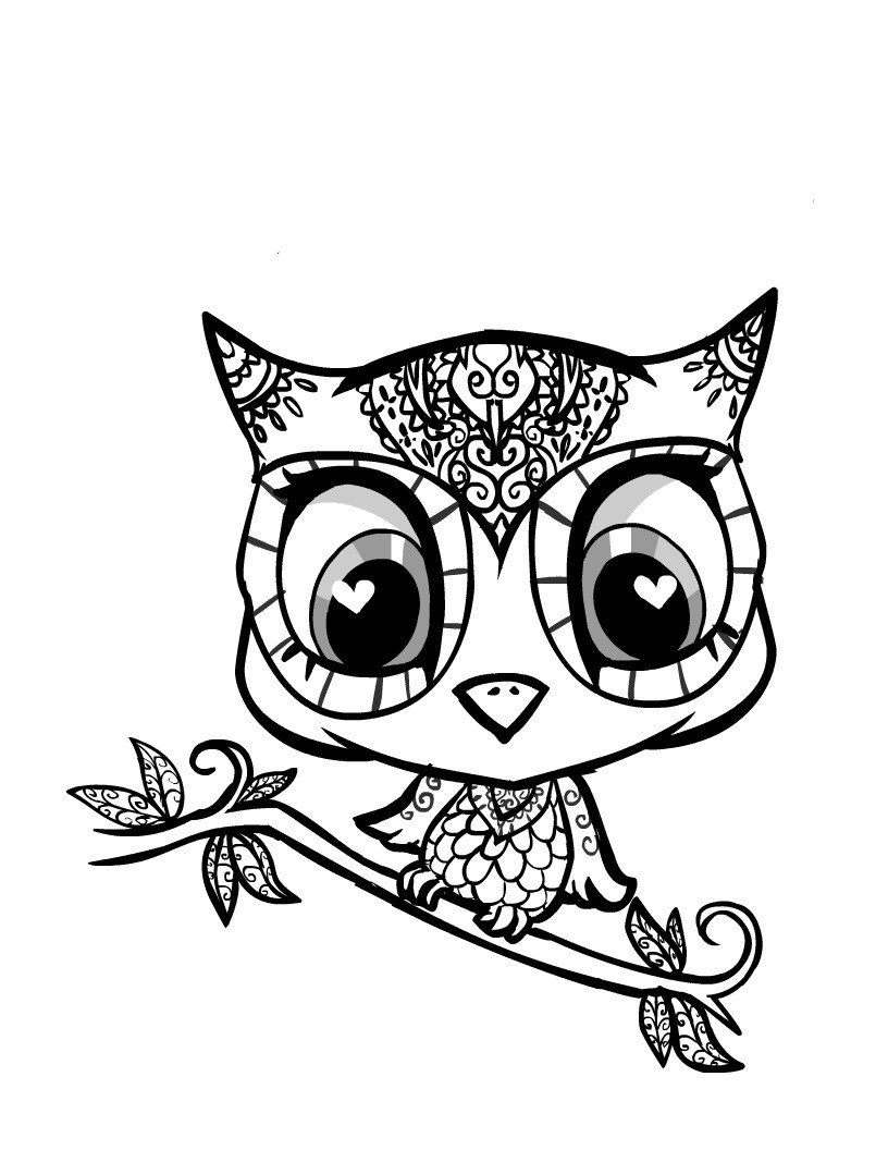 816x1056 Cute Owl Coloring Pages For Girls Printable Showy Mosm