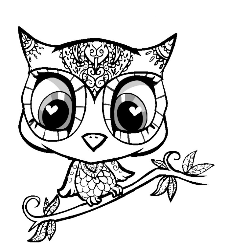 750x825 Cute Owl Coloring Pages