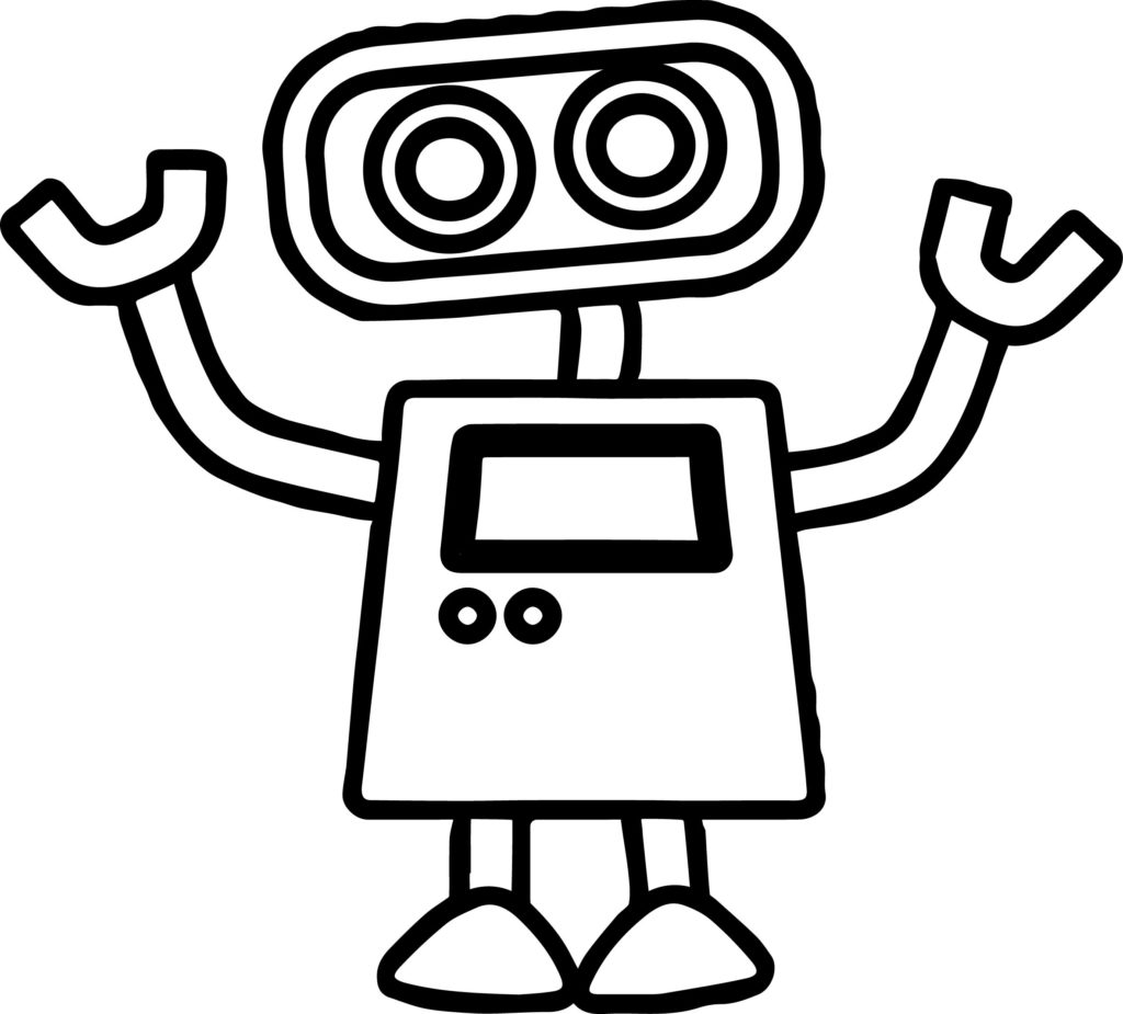 1024x925 Basic Cute Robot Coloring Page Wecoloringpage Inside Pages