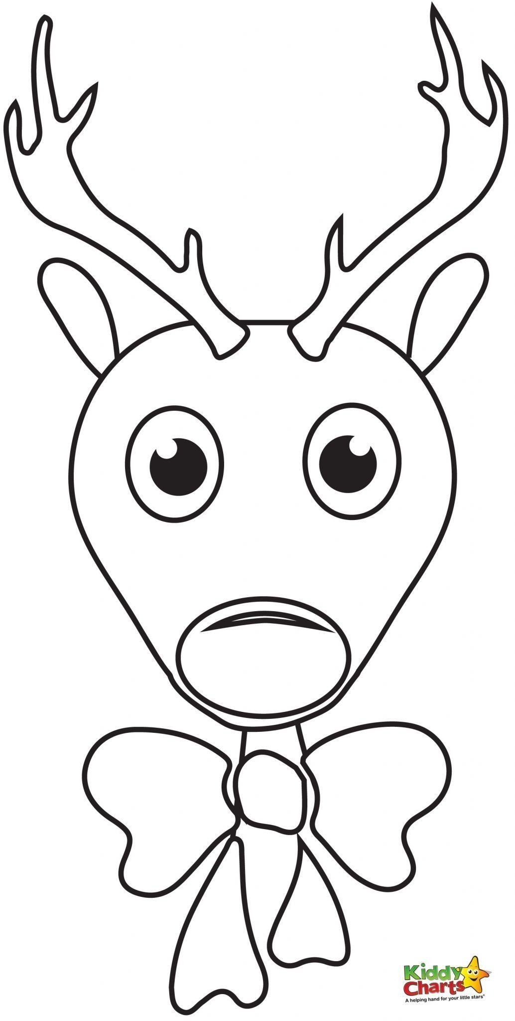 1034x2048 Reindeer Coloring Pages Cartoon Christmas Page Free Printable