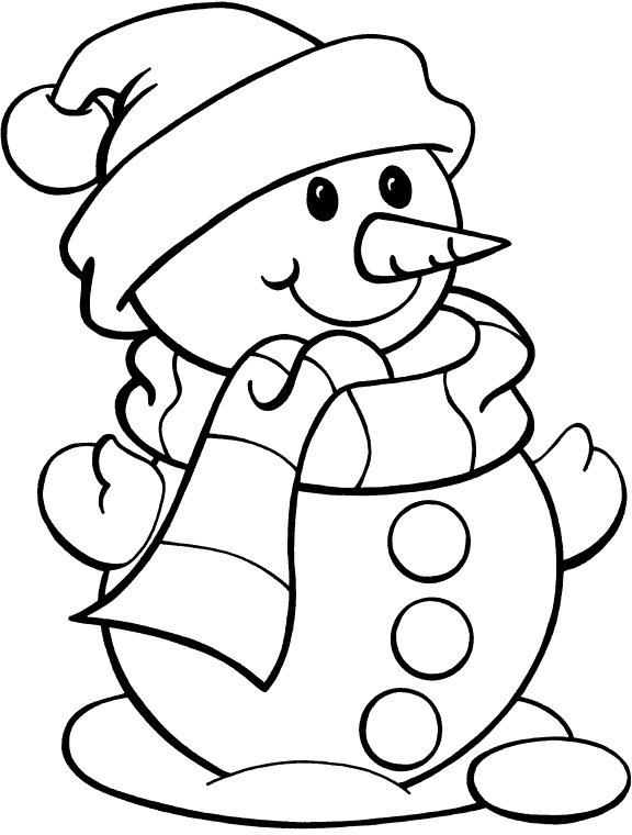 576x760 Cute Christmas Snowman Coloring Pages