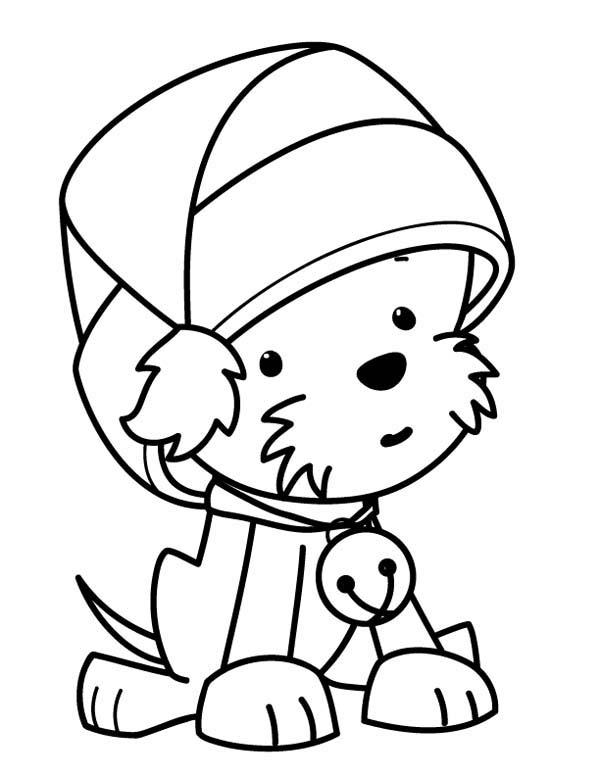 600x776 Cute Santa Coloring Pages A Sweet Tiny Dog Wearing Santa Clauss