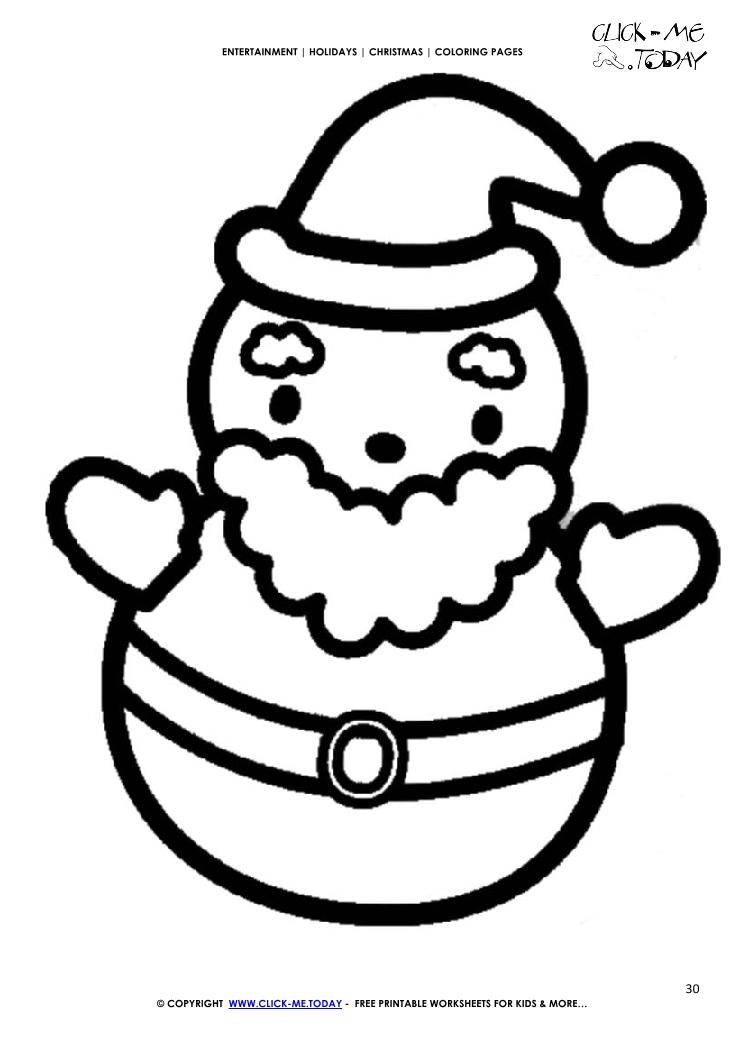 745x1053 Free Cute Santa Coloring Page