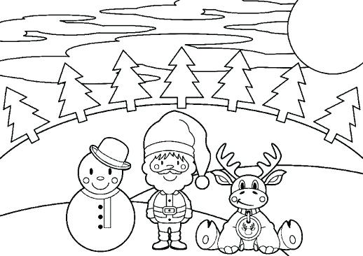 518x366 Coloring Pages Christmas Tree A Snowman Decorated With Singing