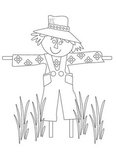 236x314 Cute Scarecrow Coloring Page Scarecrows, Worksheets And Thanksgiving