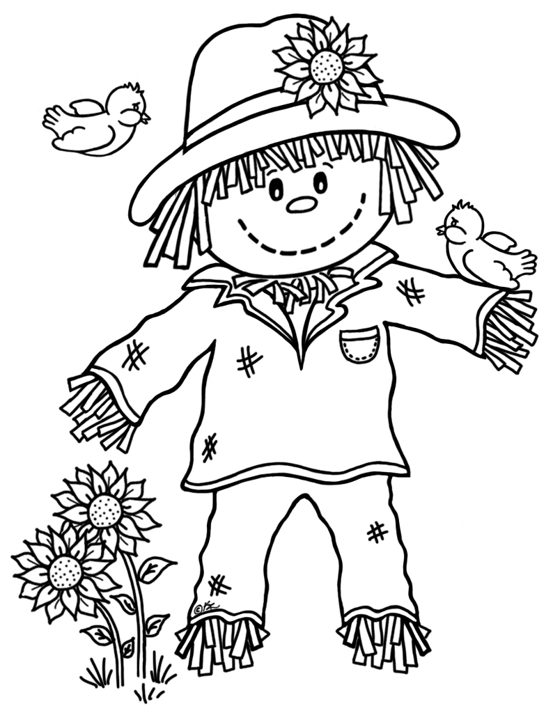 794x1024 Cute Scarecrow Coloring Pages