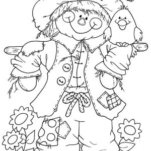 300x300 Cute Scarecrow Coloring Pages Copy Scarecrow Coloring Pages