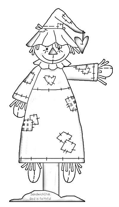 400x693 Free Printable Scarecrow Coloring Pages