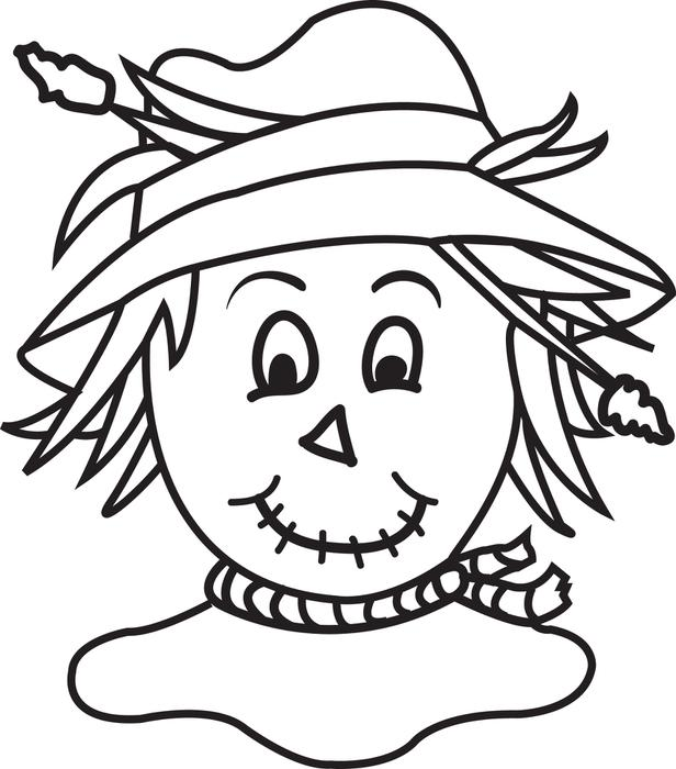 616x700 Scarecrow Head Coloring Page