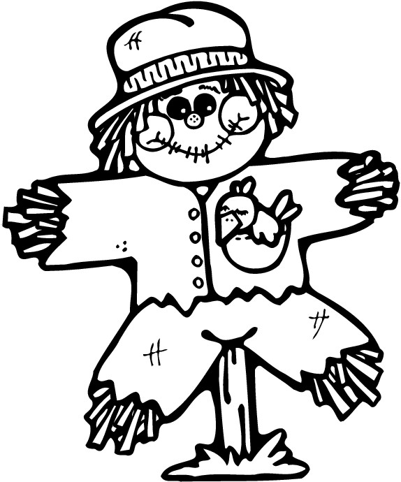 574x690 Scarecrow Coloring Page Perfect Halloween Pages Following Rustic