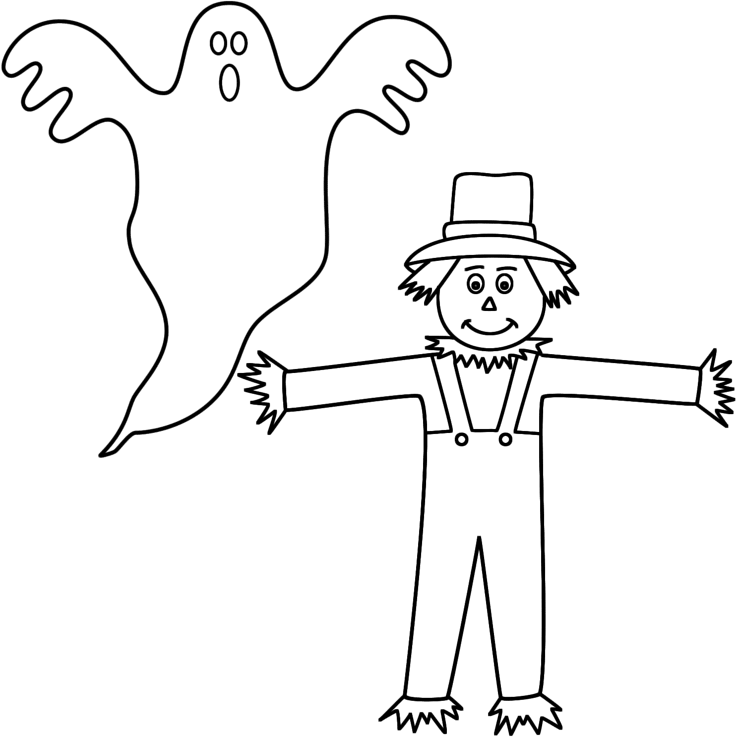 1490x1490 Cute Halloween Scarecrow Coloring Pages