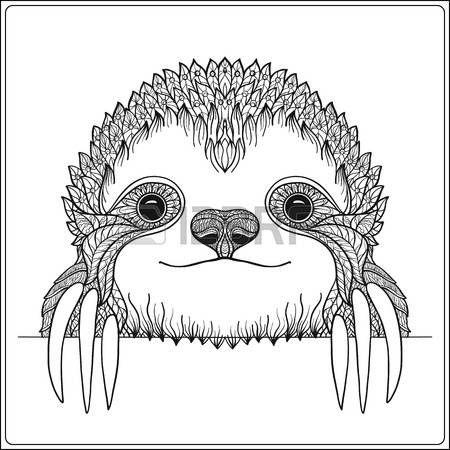 450x450 Sloth Head Decorative Cute Sloch Outline Vector Illustration