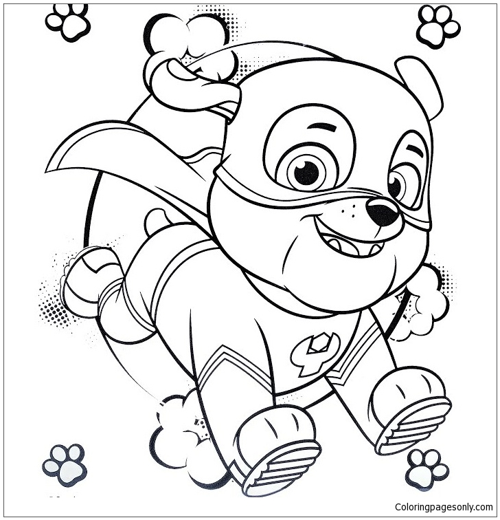 728x756 Super Hero Rubble Paw Patrol Coloring Page