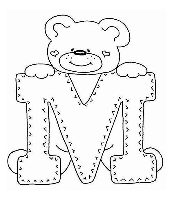 600x692 Letter M With Cute Teddy Bear Coloring Page