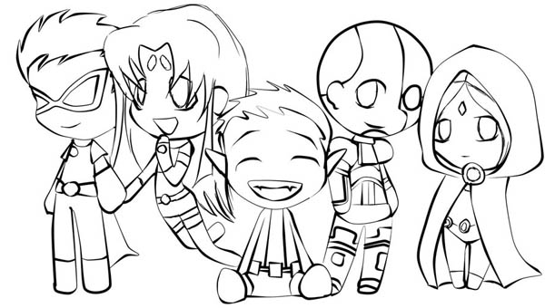 600x340 Cute Teen Titan Chibi Drawing Coloring Page