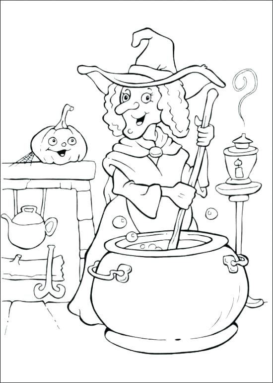 550x770 Witch Coloring Page Happy Witch Rides Broom Cute Witch Coloring